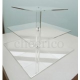 3 Tier Acrylic Square Maypole Cupcake Stand Tower Display