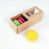 3 Macaron Kraft Brown Window Boxes($1.25/pc x 25 units)